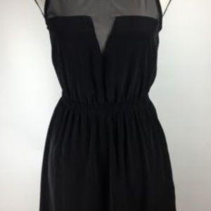 Lush Dress SZ S Mesh Panel Sleeveless Black J176